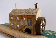 Water Mill Made by Kirsty Elson. A talented lady! Driftwood Crafts, Wooden Crafts, Beach Crafts, Home Crafts, Ceramic Houses, Wood Houses, Art Houses, Small Wooden House, Driftwood Sculpture