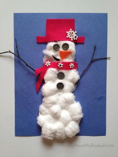 25 Winter and Christmas Crafts for Kids Cotton Ball Snowman #Toddlers #Preschoolers #Homeschool