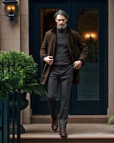 Brunello Cucinelli Shearling Fur-Lined Suede Jacket, Melange Cashmere Shaker-Knit Sweater, Fine-Stripe Poplin Shirt & Single-Pleat Wool Trousers
