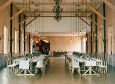 Industrial-meets-lush indoor reception