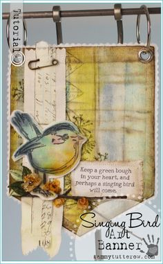 Tammy Tutterow Tutorial | Watercolor Muslin with Tim Holtz Distress Ink Minis | Fabric Art Banner Tutorial