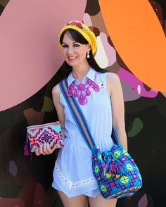 Blue romper and boho woven bags from Baanou