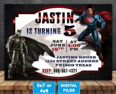 Batman vs superman invitation batman vs by shopBestEmotions