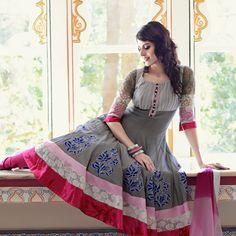 Grey Cotton Anarkali Churidar Kameez / Not sure where I'd wear it, but it's lovely.