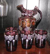 Beautiful Victorian Amethyst Lemonade or Water set, Shop Rubylane.com