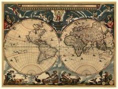 Antique World Map 1664
