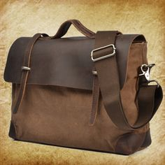 Men's Handmade Vintage Crazy Horse Leather Canvas Single Shoulder Bags / Messager Bags / Briefcase / 14'Laptop Bags (m2167) · sean vintage handmade bags · Online Store Powered by Storenvy