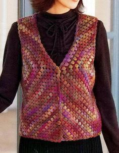 El mundo del crochet.: Sencillo chaleco multicolor