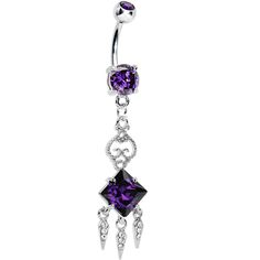 Tanzanite Gem Clear Gem Icicles Curlicue Chandelier Belly Ring | Body Candy Body Jewelry #bodycandy #bellyring $13.99