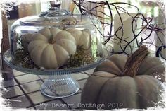 White fall decor from **My Desert Cottage** Like the displays.