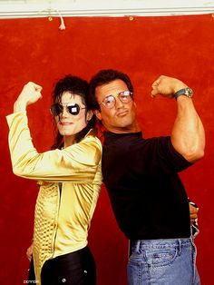 MJ and actor Sylvester Stallone backstage during the Dangerous World Tour at the Stadio Brianteo Monza, Italy July 6 1992