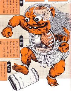 Anatomical illustrations of Japanese folk monsters