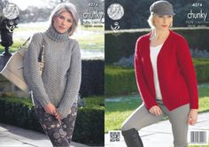 King Cole Magnum Chunky Knitting Pattern - Polo Neck Sweater & Cardigan (4274) - Mill Outlets
