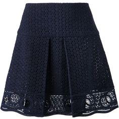 Chloe Eyelet Mini Skirt (£465) ❤ liked on Polyvore featuring skirts, mini skirts, bottoms, saia, faldas, kirna zabete, sale, cotton skirt, short cotton skirts and cotton mini skirt