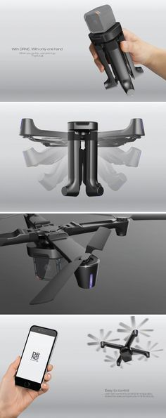 The quad-motor drone's four members fold inwards (propeller and all) to become a selfie-stick of sorts. Essentially, you can now grab/pack the drone as easily as you would a bottle of water. Noice!