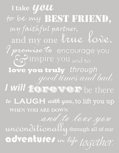These were our wedding vows. Thought I had lost them when I deleted my wedding b… These were our wedding vows. Thought I had lost them when I deleted my wedding board, but managed to find them! Oh so happy to read them again, Before Wedding, Our Wedding, Dream Wedding, Wedding Ideas, Trendy Wedding, Wedding Stuff, Wedding Pins, Wedding Country, Perfect Wedding