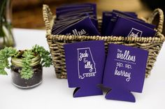 These koozies were the perfect favor for Ally  Zach's wedding especially since their ceremony took place above a brewery!  Photo by @mary_margaret_smith.