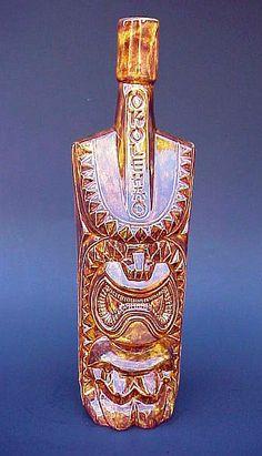 OKOLEHAO Hawaiian Tiki War God Ku CERAMIC DECANTER/BOTTLE Bar RARE BROWN Mug