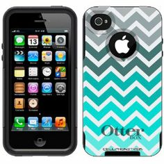 Otterbox Commuter Series Chevron Grey Green Turquoise Pattern Hybrid Case for iPhone 4 & 4S: Cell Phones & Accessories