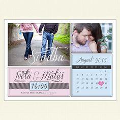 Moderné svadobné oznámenie vo forme kalendára. Toto svadobné oznámenie je s fotkou.Pozvite na svadbu rodinu a priateľov vo veľkom štýle s týmto netradičným a originálnym svadobným oznámením