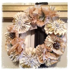 Margie's wreath - love the coffee filter, pine cone flower