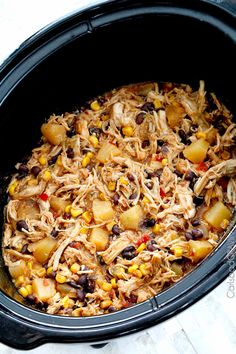 Sweet and Spicy Pineapple Salsa Chicken (Slow Cooker) | http://www.carlsbadcravings.com/sweet-spicy-pineapple-salsa-chicken-slow-cooker/