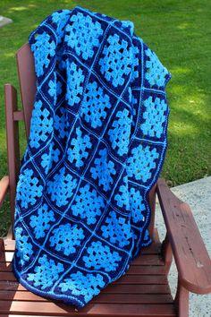Vintage Crochet Afghan Granny Squares Blue Throw Blanket Handmade