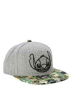 Disney Lilo & Stitch Grey & Floral Snapback Hat | Hot Topic