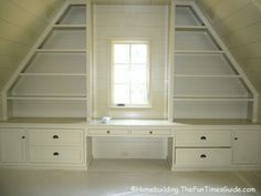 built in shelving in room with slanted sloped ceiling....This reminds me of my childhood room!