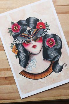 Stampa donna con falena A3. Pin Up moth tattoo di HardtimesTattoo