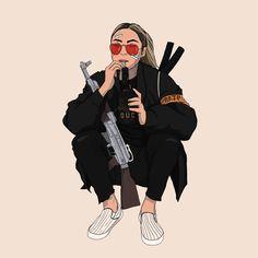 CAMY ANTONIA Fille Gangsta, Gangsta Girl, Arte Dope, Dope Art, Black Girl Art, Black Art, Character Art, Character Design, Trill Art