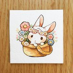 Kawaii bunny watercolour art