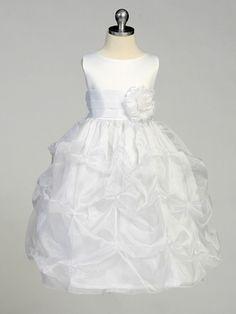 White Flower Girl Dress - Matte Satin Bodice w/ Gathers. tea length, $42-47