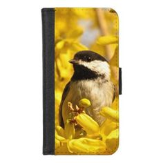 Chickadee on Yellow Flowers iPhone 8/7 Wallet Case - black gifts unique cool diy customize personalize