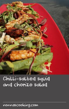 "Chilli-salted squid and chorizo salad | ""This recipe belongs to Kameel Nankan, Executive Head Chef at The Trafalgar Hotel. The hotel has an incredible rooftop bar overlooking Trafalgar Square and has to be the most spectacular view of London city. This simple and tasty dish is perfect for a hot summer's day."" Luke Nguyen, Luke Nguyen's United Kingdom"