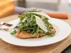 Lemon Parmesan Chicken with Arugula Salad Topping Recipe from Food Network Ina Garten Food Network Recipes, Cooking Recipes, Healthy Recipes, Cooking Network, Cooking Games, Cooking Pasta, Cooking Steak, Cooking Bacon, Cooking Oil