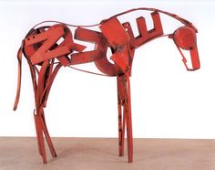 Deborah Butterfield - Big Red, 1995, found steel, welded, 85 x 112 x 27""