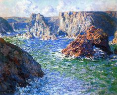 Claude Monet The Guibel Rock, Port-Domois 1886 Claude Monet, Artist Monet, Artist Art, Monet Paintings, Landscape Paintings, Abstract Paintings, Painting Art, Impressionist Paintings, Art Graphique