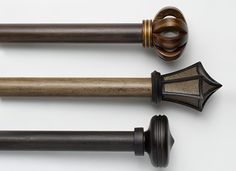 Customize your window drapery hardware down to the inch! Designer hardware collections add a stylish finishing touch to your window treatments. Curtain Finials, Curtain Brackets, Curtain Hardware, Window Hardware, Drapery Rods, Pillar Design, Custom Windows, Window Treatments, Door Handles