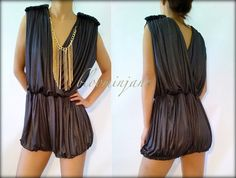 vintage inspired sheath romper with chain neckace,club dress,party dress $52 bloominjane.etsy.com
