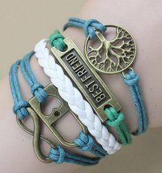 Lucky wish tree & best friend lock infinity love leather wax cord braid friendship bracelet. Lucky handcrafted life tree leather wrap bracelet to infinity friends