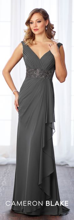 Formal Evening Gowns by Mon Cheri - Fall 2017 - Style No 217641 - smoke gray sleeveless chiffon slim A-line evening dress