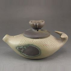 Hand Carved Chinese Natural Jade Fish Shape Teapot