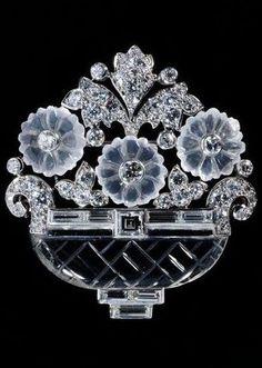 Cartier-Rock Crystal & Diamond Brooch-1930