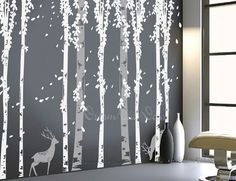 wall decals tree decal, nature wall decals, vinyl wall decal, birch tree with deer, nursery wall stickers-DK120