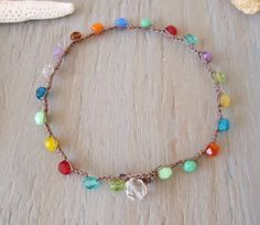 Colorful crochet anklet RainBow Splash  multi by slashKnots, $24.00