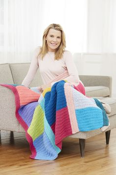Make this colorful spring afghan with our featured yarn - Vanna's Choice! Save 20% on the yarn for this project for a limited time. get the free crochet pattern now! :D