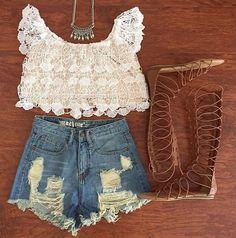 Flutter Sleeve Crochet Crop Top