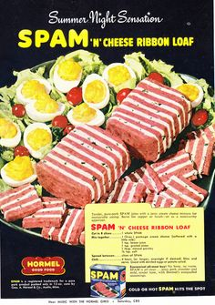 Retro recipes found in vintage ads. Madison Avenue's contribution to the dinner table, from the delicious to the suspicious. Spam Recipes, Retro Recipes, Old Recipes, Vintage Recipes, 1950s Recipes, Cooking Recipes, German Recipes, Gross Food, Weird Food
