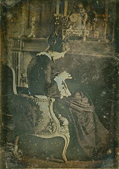 Portrait of a woman sewing ca. 1850 french daguerreotype